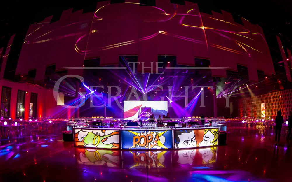 The Geraghty, chicago event space, venue of possibilities, lasers, andy warhol inspired, pop art