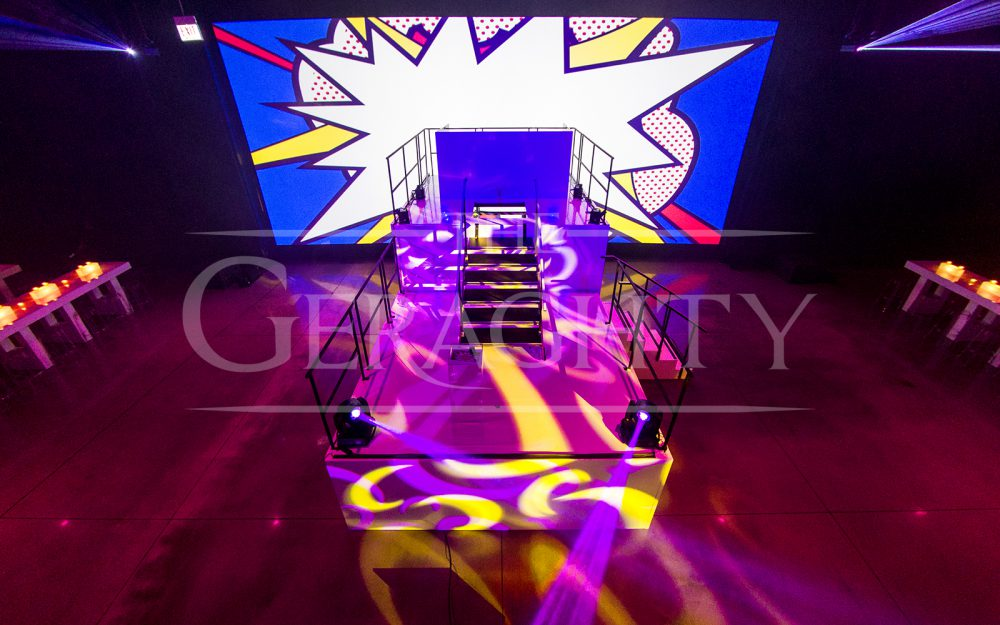 The Geraghty, event space, a venue of possibilities, chicago venue, pop art inspiration, andy warhol inspired, lasers
