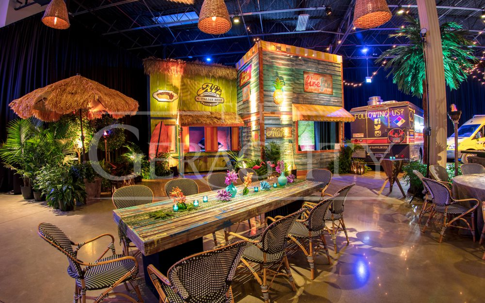 The Gearghty, a venue of possibilities, socail event, Island theme, beach theme, tropical theme, tiki, food trucks, Party, bar mitzvah, bat mitzvah, anniversary, fire dancers